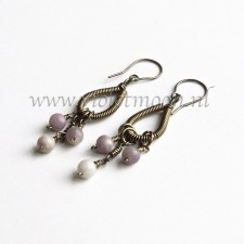 Gunmetal wire wrapped drop earringsn with Lavender stone