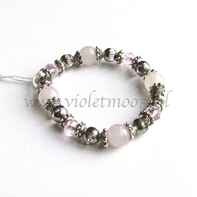 rozenkwarts armband / rose quarts bracelet from violetmoon.nl