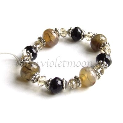 A. 111015 - Dragon Vein Agaat, Onyx Armband / Dragon Vein Agate, Onyx Bracelet from violetmoon.nl