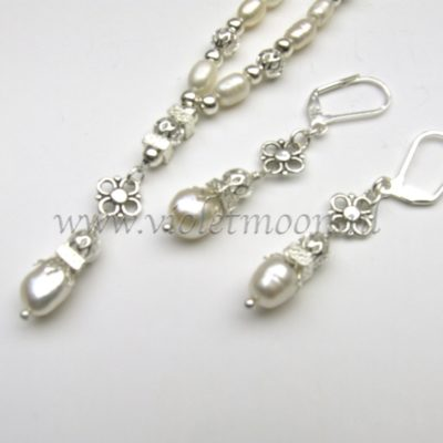 silver plated and pearl bridal set
