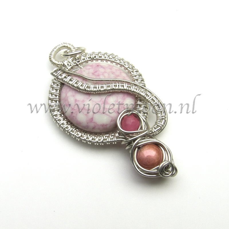 Howlite and pink topaz wire wrapped with silver plated wire
