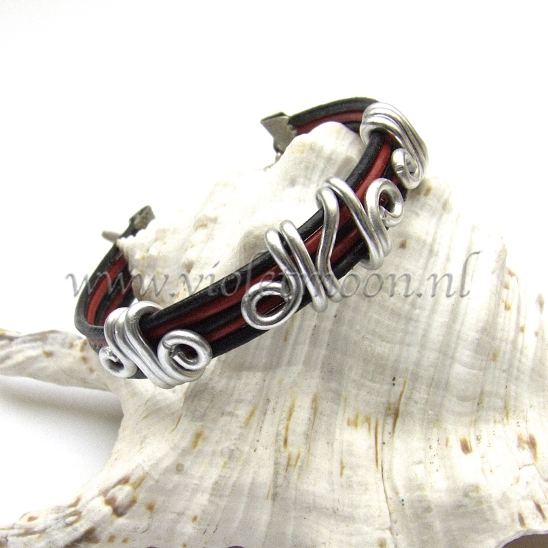 leather bracelet with handmade aluminium wire sliders