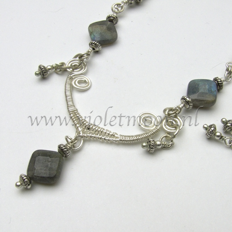Wire wrapped necklace and earrings made from non tarnish artistic wire and labradorite square stones/