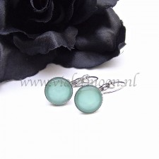 Earrings with fizzy seafoam cabochons
