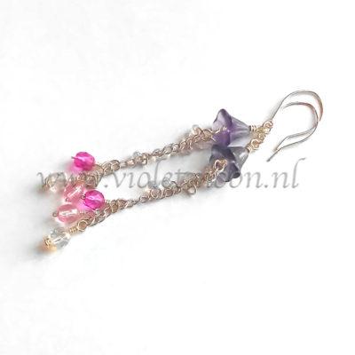Lange Oorbellen Fleurtje / Long Earrings Fleurtje from violetmoon.nl