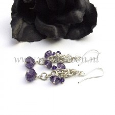 Chain maille earrings with purple firepolished beads