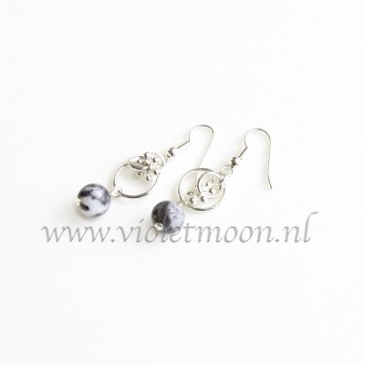 Black Water Jaspis oorbellen / Black Water Jasper earrings from violetmoon.nl