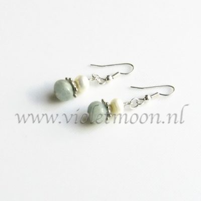 Aquamarijn oorbellen / Aquamarine earrings from violetmoon.nl
