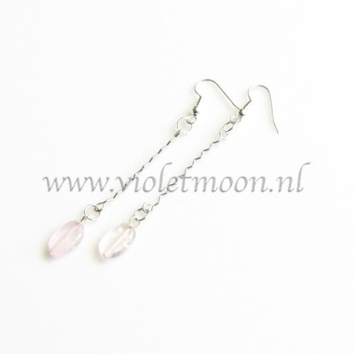 Rozenkwarts oorbellen / Rose Quartz earrings by violetmoon.nl