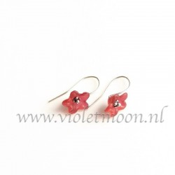 Red lucite flower earrings