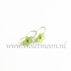Green lucite flower earrings