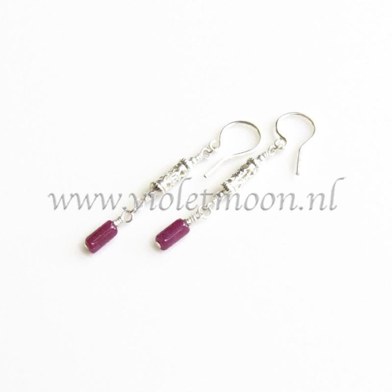 rode aventurijn oorbellen / red aventurine earrings by violetmoon.nl