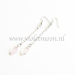 Rozenkwarts oorbellen / Rose Quartz earrings by violetmoon.nl