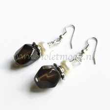 Smokey quartz earrings with fresh water pearls