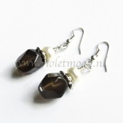 Smoky quartz earrings with fresh water pearls