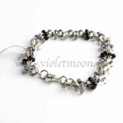 Chain bracelet with black and transparent farfalle beads