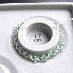 Chain bracelet with frosted mint green farfalle beads