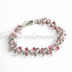 Chain bracelet with pink farfalle beads