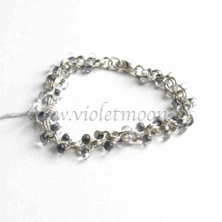 Chain bracelet with grey farfalle beads