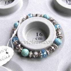 Turquoise howlite bracelet silver colour