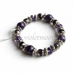 Amethyst bracelet silver colour