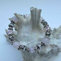 Rose Quartz bracelet silver colour