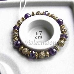 Amethyst bracelet gold colour