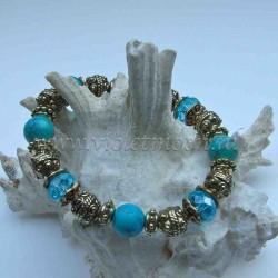 Turquoise howlite bracelet gold colour