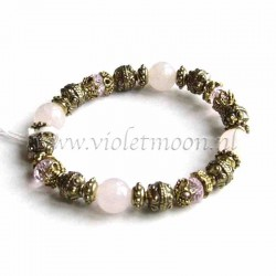 Rose Quartz bracelet gold colour