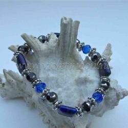 Lapis Lazuli bracelet silver colour