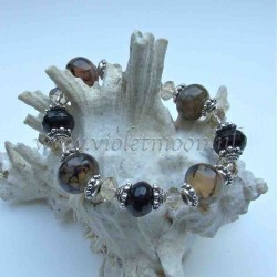 Dragon Vein Agate and fire polished Onyx bracelet