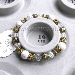 White howlite bracelet gold colour