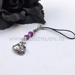 cellphone straps with doggy bowl charms  violet
