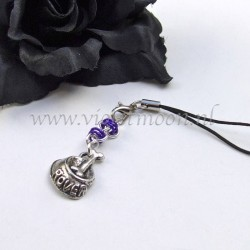 cellphone straps with doggy bowl charms  purple