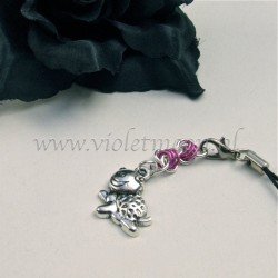 cellphone charms with happy turtle charms pink