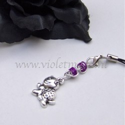 cellphone charms with happy turtle charms violet