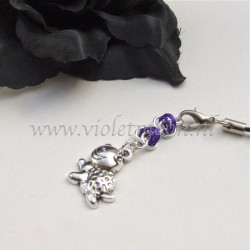 cellphone charms with happy turtle charms purple