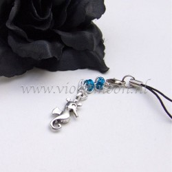 cellphone straps with Seahorse charms blue