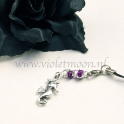 cellphone straps with Seahorse charms violet
