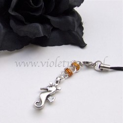 cellphone straps with Seahorse charms orange