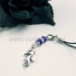 cellphone straps with Seahorse charms purple