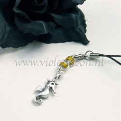 cellphone straps with Seahorse charms yellow