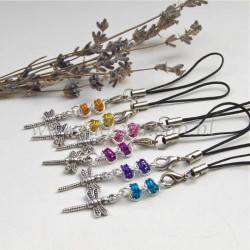 cellphone charm with dragonfly charms