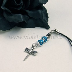 cellphone charm with dragonfly charms blue