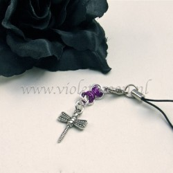 cellphone charm with dragonfly charms violet