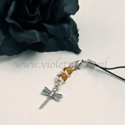 cellphone charm with dragonfly charms orange