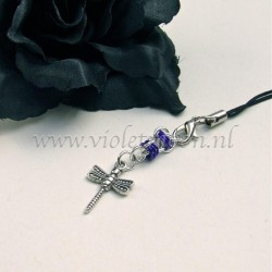 cellphone charm with dragonfly charms purple