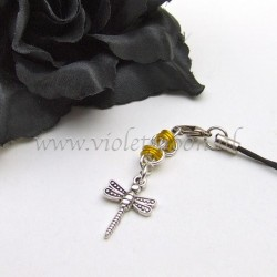 cellphone charm with dragonfly charms yellow