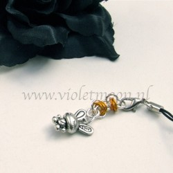 cellphone strap with Love Bunnies charms orange