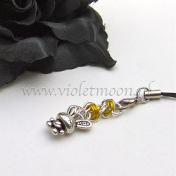 cellphone strap with Love Bunnies charms yellow